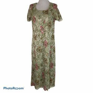 Vintage Courtenay Maxi Dress M Floral Lace Overlay
